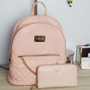 BeBe Pink Leather Backpack and Wallet Bundle
